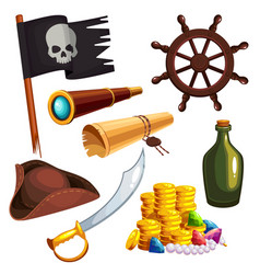 Set of pirate elements vector