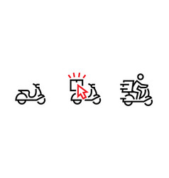 set quick delivery service icon editable line vector image