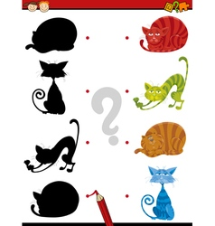 Shadow task with cats for children vector