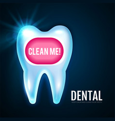 Shining helthy tooth with lights cleaning teeth vector
