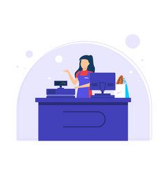 Shop clerk payment at cashier counter vector