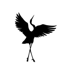 Silhouette or black ink symbol a crane bird or vector