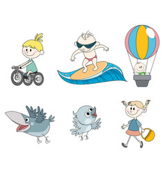 Six childrens characters vector
