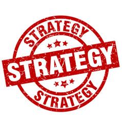 Strategy round red grunge stamp vector