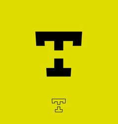 T h monogram letters flat hidden vector