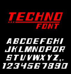 Techno font letters and numbers vector