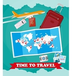 Tourist equipment background vector image