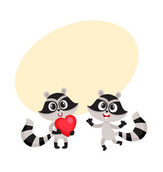 two little raccoon characters holding red heart vector image