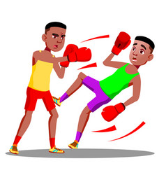 two teenagers boxing at the competitions in ring vector image