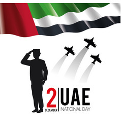 Uae flag with soldier and military airplanes to vector