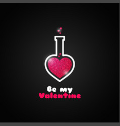 Valentines day love potion logo on black vector