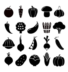 Vegetables silhouettes icons vector image