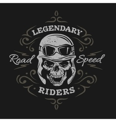 Vintage Biker Skull On a dark background vector image