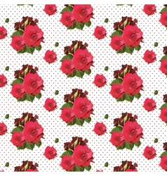 Watercolor Red Rose pattern on lace vector