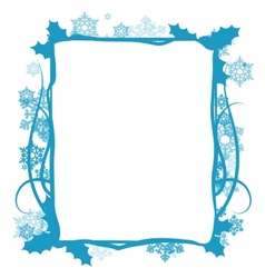 Winter floral frame vector image