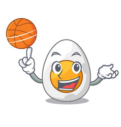 With basketball cartoon boiled egg sliced for vector