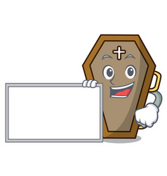 with board coffin character cartoon style vector image