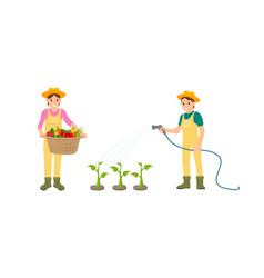 Woman and watering hose vector