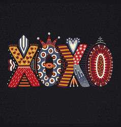 Xoxo hand drawn lettering happy valentines day vector
