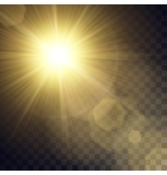 Yellow sun with light effects vector
