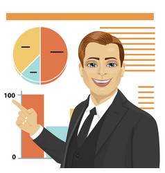 young businessman standing next to flip chart vector image