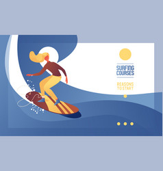 young woman on surfing board on wave concept vector image