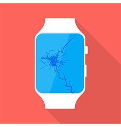 Broken smart watch flat stylized vector