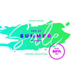 end of summer season sale banner with tropic vector image vector image