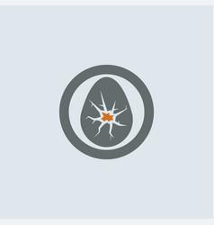 gray orange cracked eggshell round icon vector image vector image