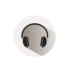 headphones icon on a button and white background vector image