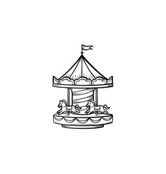 Merry-go-round hand drawn sketch icon vector