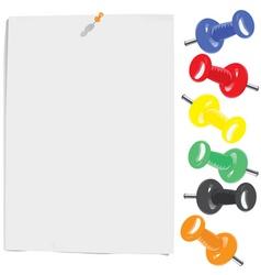 paper sheet and motley pins vector image