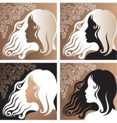 beautiful vintage girl vector image vector image