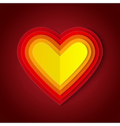 Colorful red and orange paper layers heart shape vector image