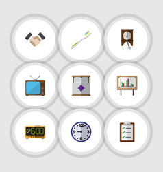 flat icon life set of dental clock television vector image vector image