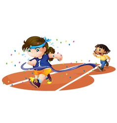 girls on a race track vector image vector image