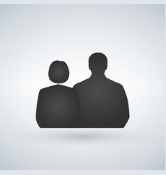 men and women silhouette icon isolated on white vector image