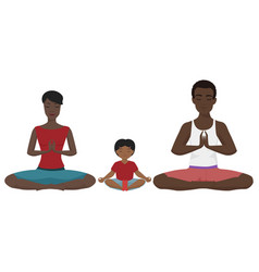african american family yoga vector image vector image