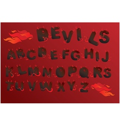 Alphabet with funny demons letters and fire vector image vector image
