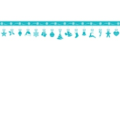 Blue snowflake border with hanging vector image vector image