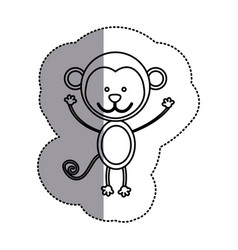 contour teddy monkey icon vector image