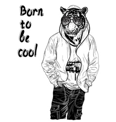 Fashion design with man with the head of tiger for vector image
