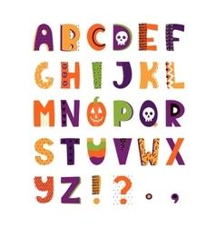 Halloween hand drawn colorful alphabet vector image