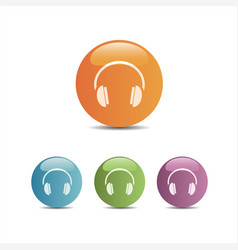 Headphones icon on a colored buttons and white vector