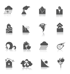 Natural disaster icons black vector image vector image