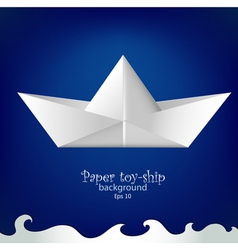 Paper toy ship background vector image