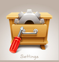 wooden drawer for settings icon vector image vector image