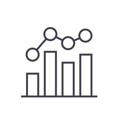 business chart bar graph line icon sig vector image vector image