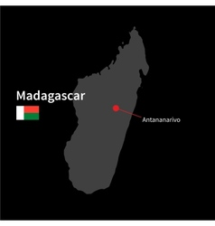 Detailed map of Madagascar and capital city vector image