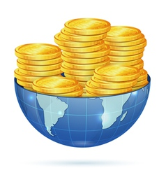 Earth with Gold Coins vector image vector image